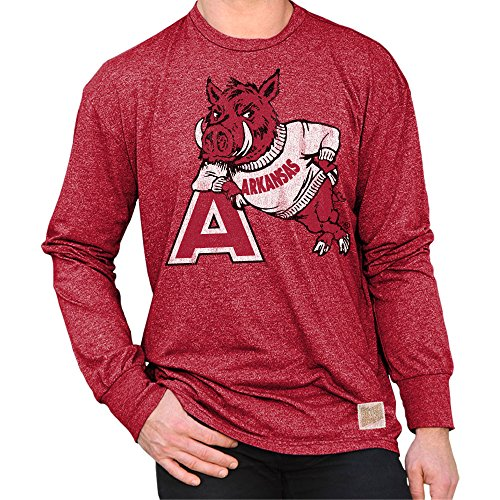 - Elite Fan Shop Arkansas Razorbacks Retro Long Sleeve Tshirt Cardinal - XL