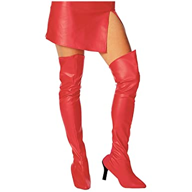 Amazon.com: Rubie's Costume Co Red Thigh High Boot Tops Costume ...