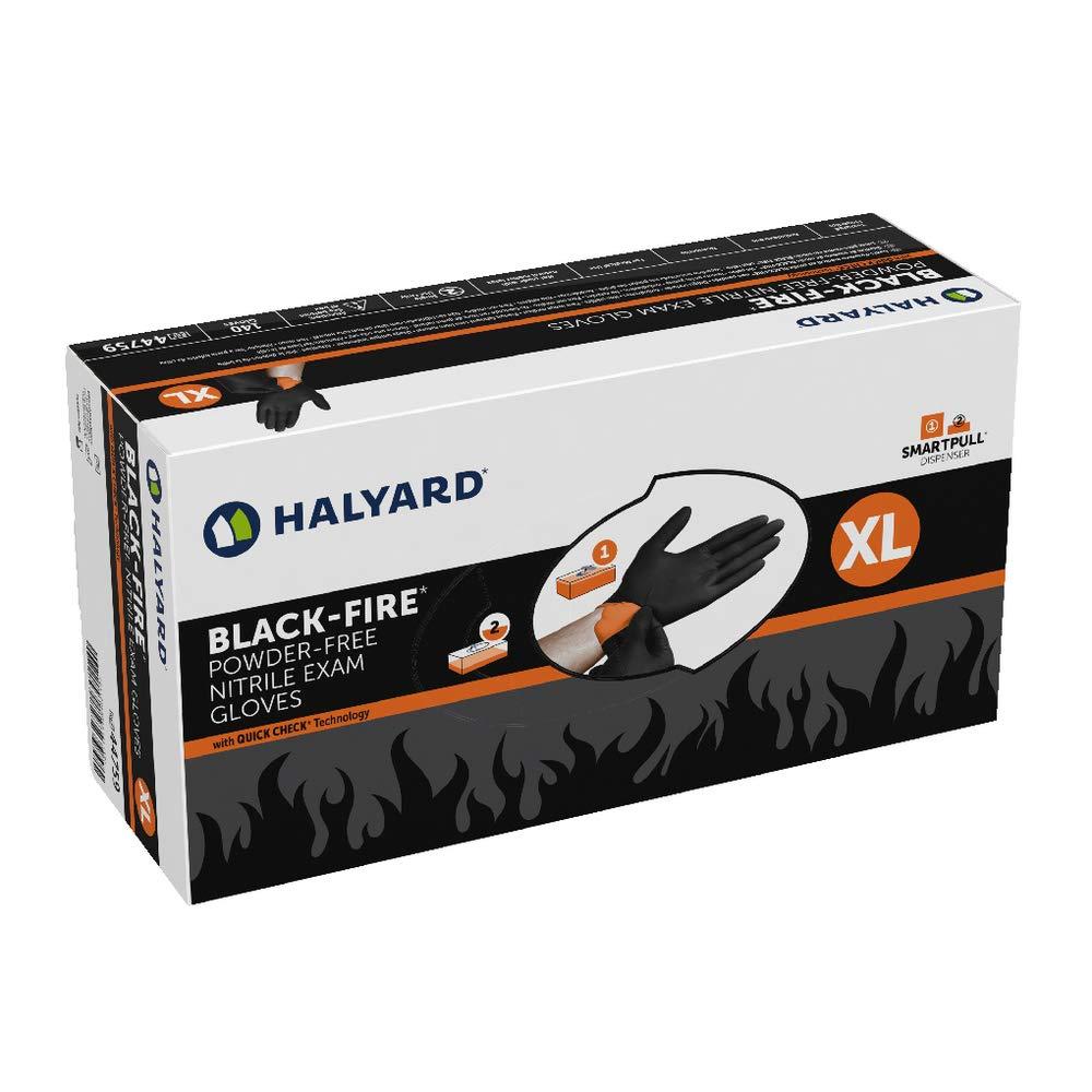 HALYARD BLACK-FIRE Nitrile Exam Gloves, Powder-Free, 5.5 mil, X-Large, 44759 (Case of 1400)