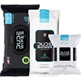 DUDE Wipes Flushable (48ct), DUDE Shower Body Wipes (8ct), DUDE Face Wipes (30ct) Unscented with Vitamin-E & Aloe - Head…