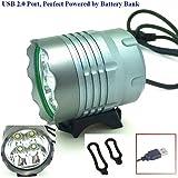 3000ルーメン4 *クリーXM-L T6 LED USBスーパー明るい自転車LED自転車ランプライトヘッドライト防水アルミ合金USB電源バンクで駆動