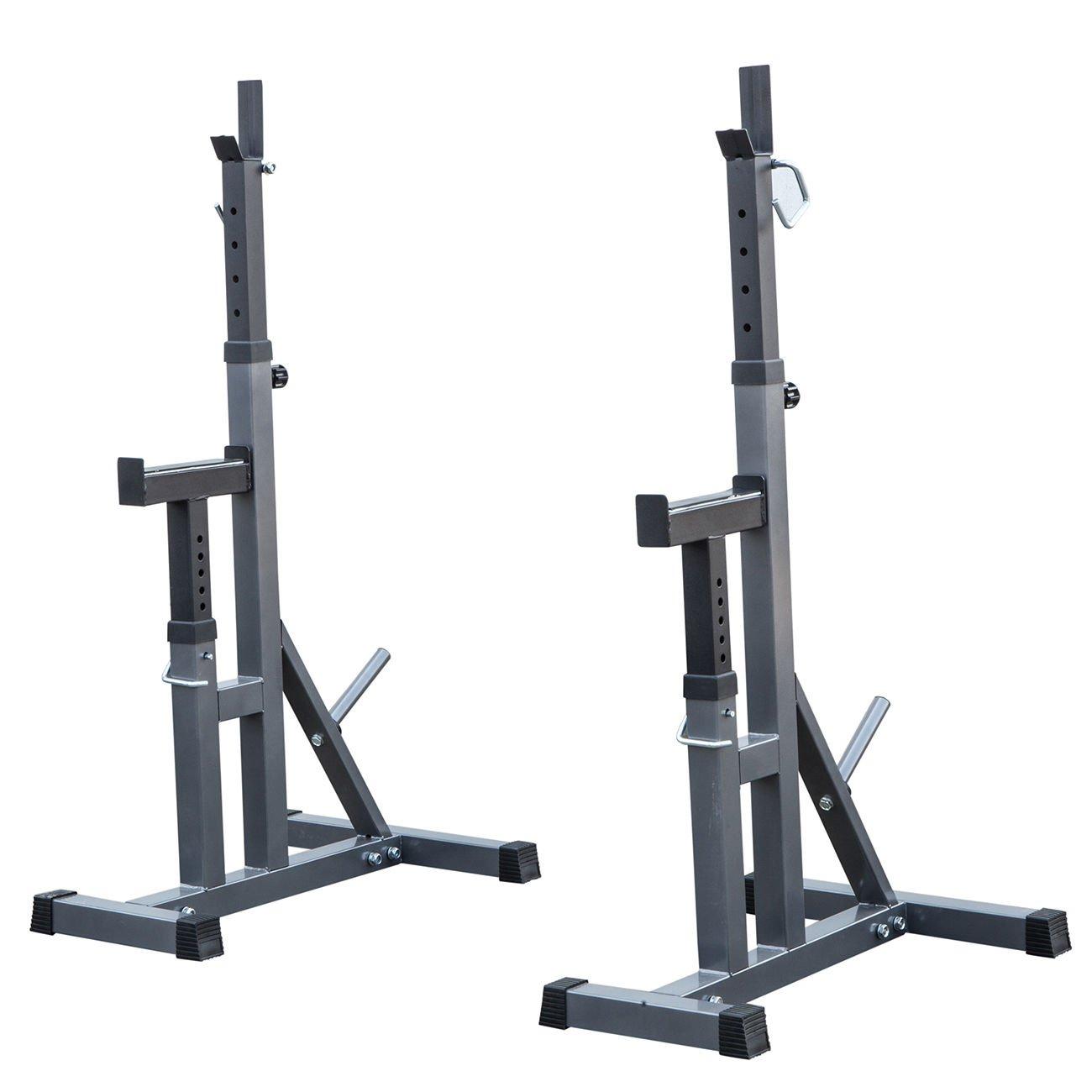 2pcs Adjustable Rack Standard Steel Squat Stands Barbell Free Press Bench w/ Peg