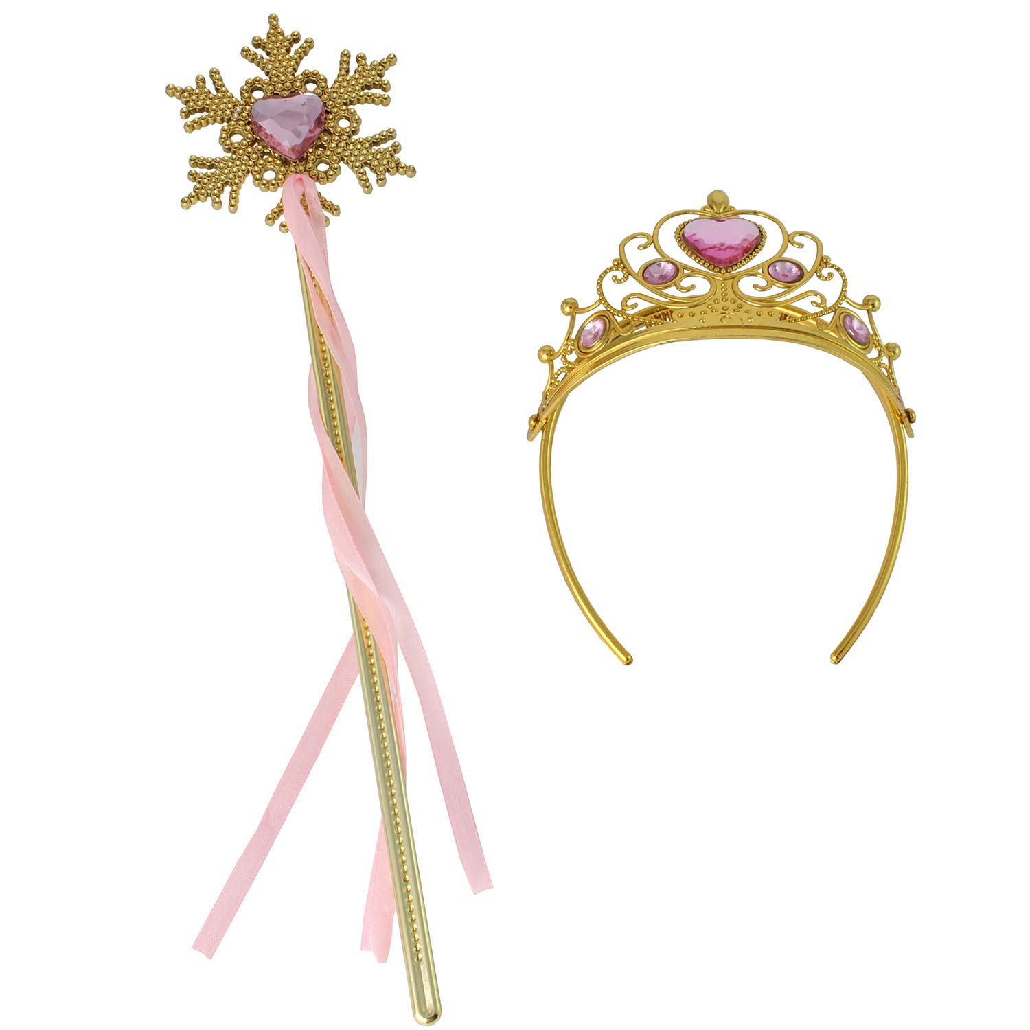 Princess Dress Up Princess Wands Tiaras and Crowns for Little Girls Snowflake Wand Set Pink