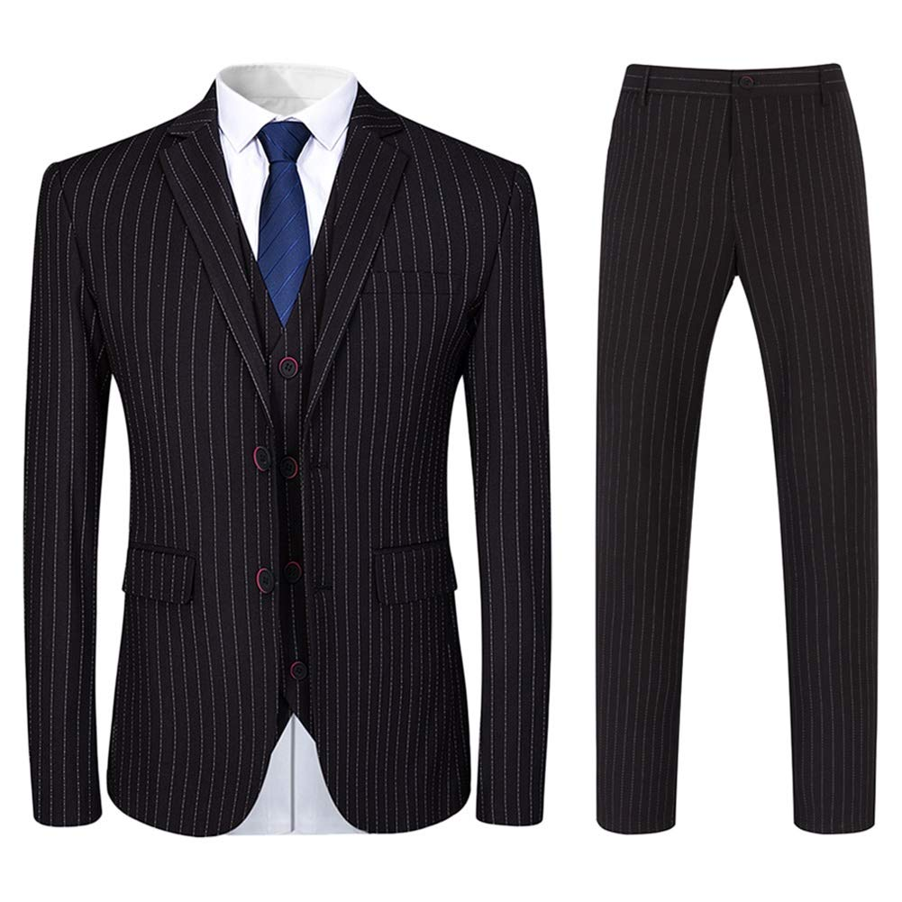 1960s Mens Suits | 70s Mens Disco Suits Mens 3 Piece Suit Formal Pinstripe Slim Fit Notched Lapel Dress Blazer Vest Trousers Set $95.99 AT vintagedancer.com