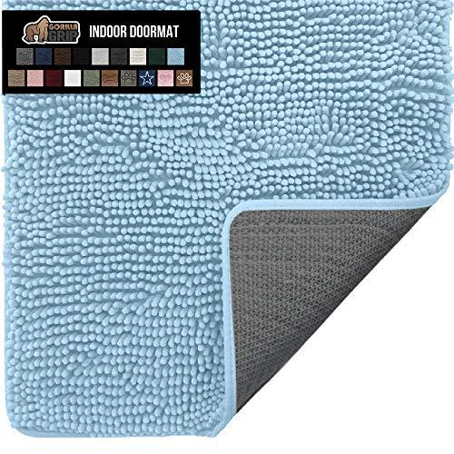 Gorilla Grip Original Indoor Durable Chenille Doormat, 36x24, Absorbent Washable Inside Mats, Low-Profile Rug Doormats for Entry, Mud Room Mat, Back Door, High Traffic Areas, Light Blue