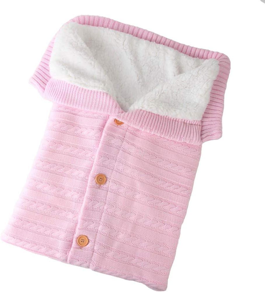 Tandoucon Tandou Saco Silla de Paseo Bebé Calentitos con Botones - Mantas de Cuna de Bebe para Cochecitos, Carro, Cunas, Carrito (Rosa)