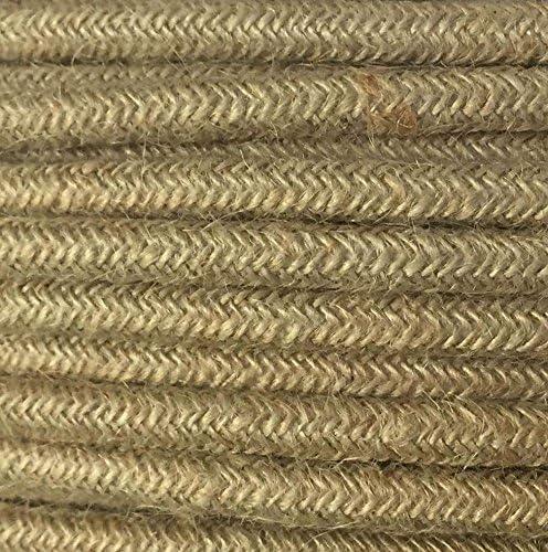 50 Metri Sezione 2x0.75 Cavo Elettrico Tondo//Rotondo Rivestito in Tessuto Colore Juta
