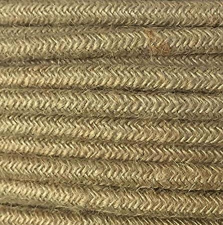 Made in Italy dise/ño Cable el/éctrico redondo redondo estilo vintage revestido de tela multicolor m/ás bruto Canvas yute natural h03vv-f secci/ón 2/x 0,75/para l/ámparas l/ámparas abat Jour