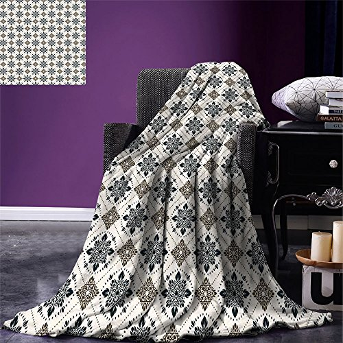 smallbeefly Persian Throw Blanket Retro Boho Welsh Pears with Persian Pickles Traditional Motif Artsy Design Print Warm Microfiber All Season Blanket for Bed or Couch Brown Blue