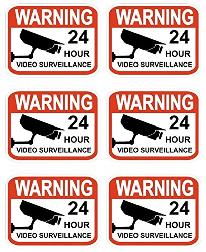 6 Pcs Unrivaled Popular Video Surveillance Stickers Sign CCTV Watched Home Security Business Defense Size 2.3