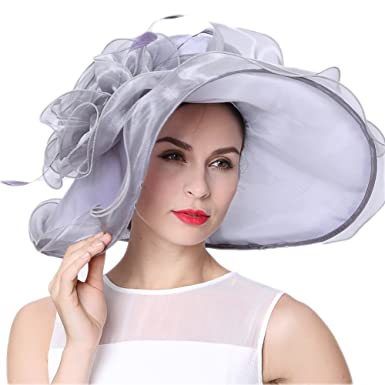 f64967c34c197 June s Young Women Hats Derby Hats Summer Floppy Silver at Amazon Women s  Clothing store