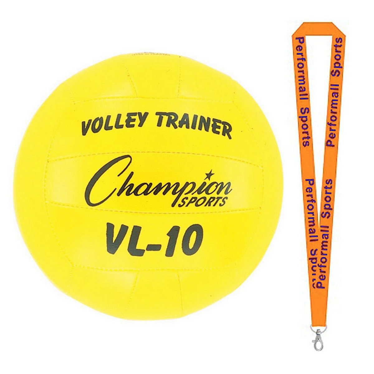 Champion Sports Volleyball Trainer Yellow Bundle with 1 Performall Lanyard VL10-1P