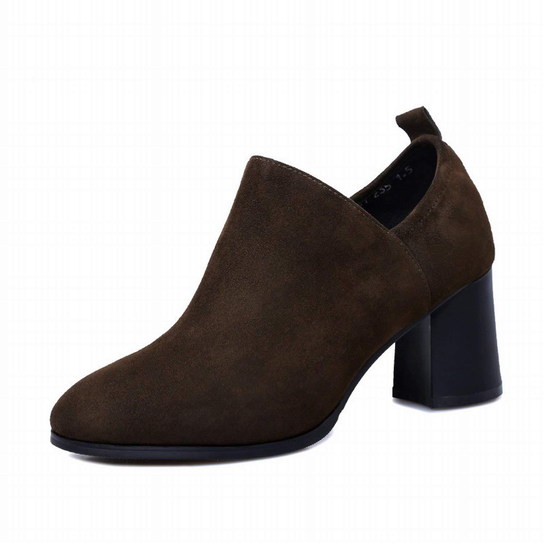 Oudan Die High Heels der Aufsatz von Mund tief scrigano die Schlittschuhe von Vieh mit Die Schuhe Von So Dick (Farbe   Kaki, Größe   38)