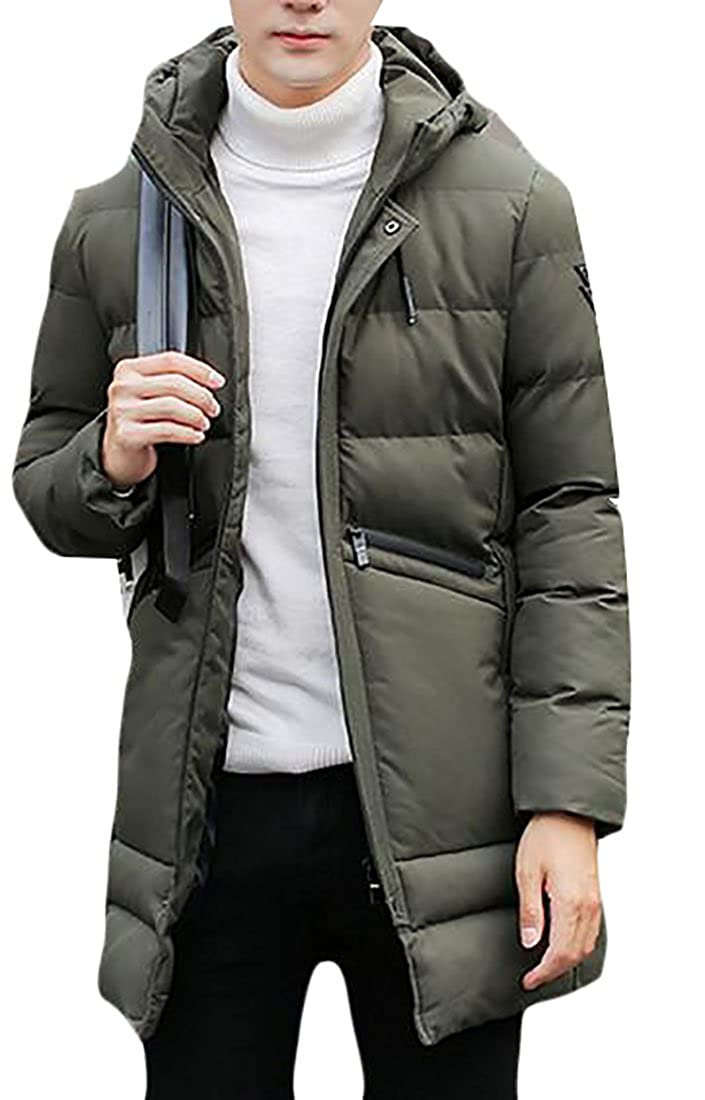 xtsrkbg Mens Casual Long Down Jacket Winter Thicken Outwear Hooded Jacket