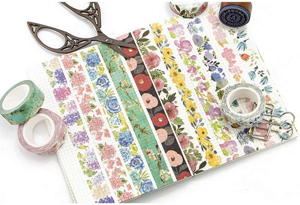 Wide Photo Frames 9 Rolls Bullet Journals for Scrapbooks 0.6 Inch Kyoto Style Masking Washi Tape Set 15mm Arts and Crafts. Floral Spring Package
