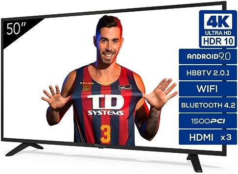 Televisiones Smart TV 50 Pulgadas 4K Android 9.0 y HBBTV, 1500 PCI Hz UHD HDR, 3X HDMI, 2X USB. DVB-T2/C/S2, Modo Hotel: Amazon.es: Electrónica
