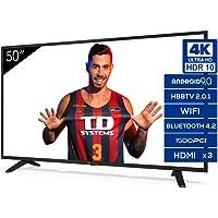 Televisiones Smart TV 50 Pulgadas 4K Android 9.0 y HBBTV, 1500 PCI Hz UHD HDR, 3X HDMI, 2X USB. DVB-T2/C/S2, Modo Hotel…