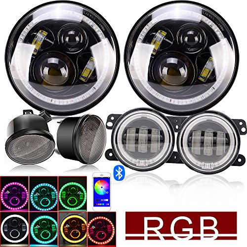 DOT 7Inch Led Round Headlights RGB Halo Hi/Lo Beam DRL With Bluetooth Remote + 4Inch Front Bumper Fog Lights + Amber LED Turn Signal Light For 2007-2017 Jeep Wrangler JK JKU Rubicon Sahara Unlimited