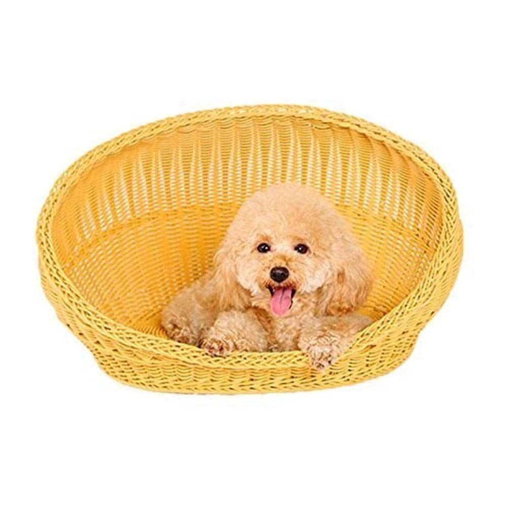 Chunchun Rattan Woven Pet Kennel Four Seasons Kennel Teddy Cat Nest Bamboo Basket Pet Products (Size : M) by Chunchun