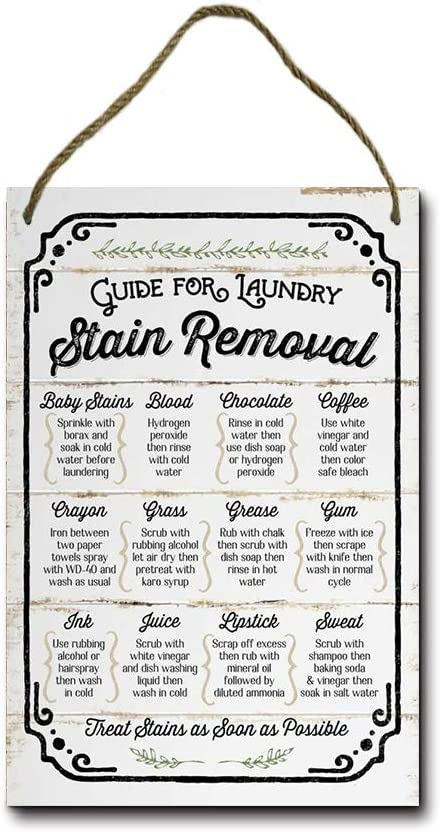 Losea Guide for Laundry Stain Removal Rustic Wood Farmhouse Wall Sign 8x12 Inches