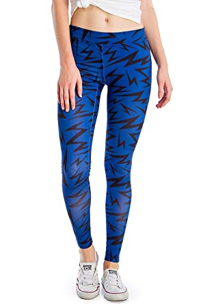 6d08d3ef12 Tipsy Elves Women's Yoga Workout Pants and Fitness Workout Leggings (Blue  Lightning, X-