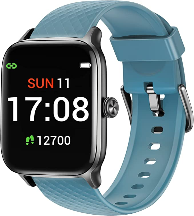 Letsfit EW1 Smart Watch Compatible with iPhone and Android Phones, Fitness Tracker with Heart Rate Monitor, Sleep Monitor & Blood Oxygen Saturation, 5ATM Waterproof Smartwatch for Women Men-Blue   Amazon