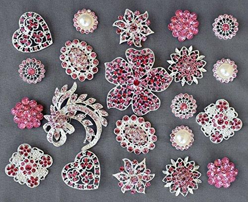 10 Pink Rhinestone Button Brooch Pearl Crystal Embellishment Wedding Brooch Bouquet Cake Decoration BT980