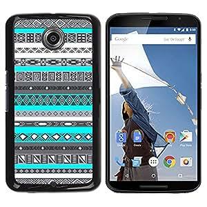 iKiki Tech / Estuche rígido - Pattern Teal Blue Native American - Motorola NEXUS 6 / X / Moto X Pro