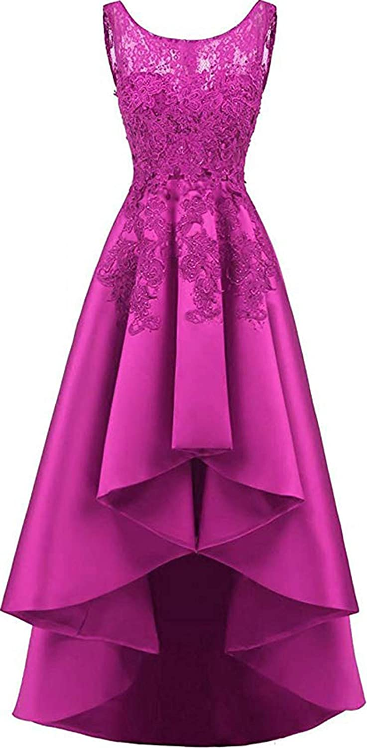 Fuchsia Rmaytiked Womens Lace Beading Hilo Wedding Party Dress Satin Prom Dress 2019 Evening Formal Gowns