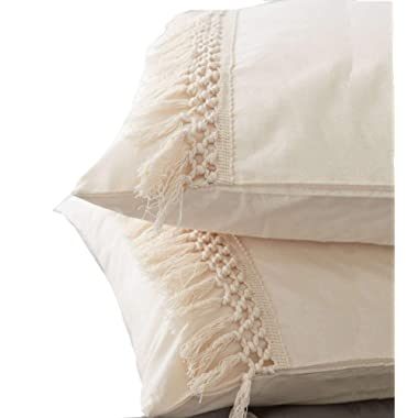 Flber Pom Tassel Sham Set Cotton Pillow Covers King Size,19.6in x35.4in,Set of 2