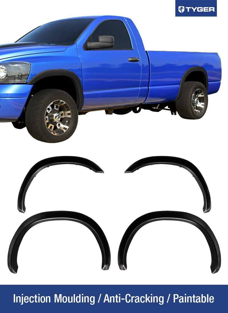 Tyger Auto TG-FF6D4208 for 2002-2008 Dodge 1500; 2003-2009 Ram 2500 3500 (ONLY Fit 8' Truck Bed), Textured Matte Black OE Style Fender Flare