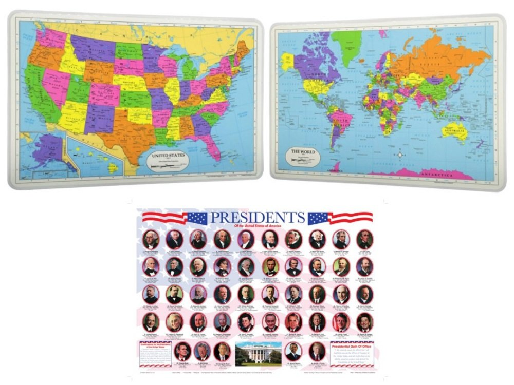 Painless Learning Laminated Educational Placemats for Kids: US Presidents, USA Map, World Map