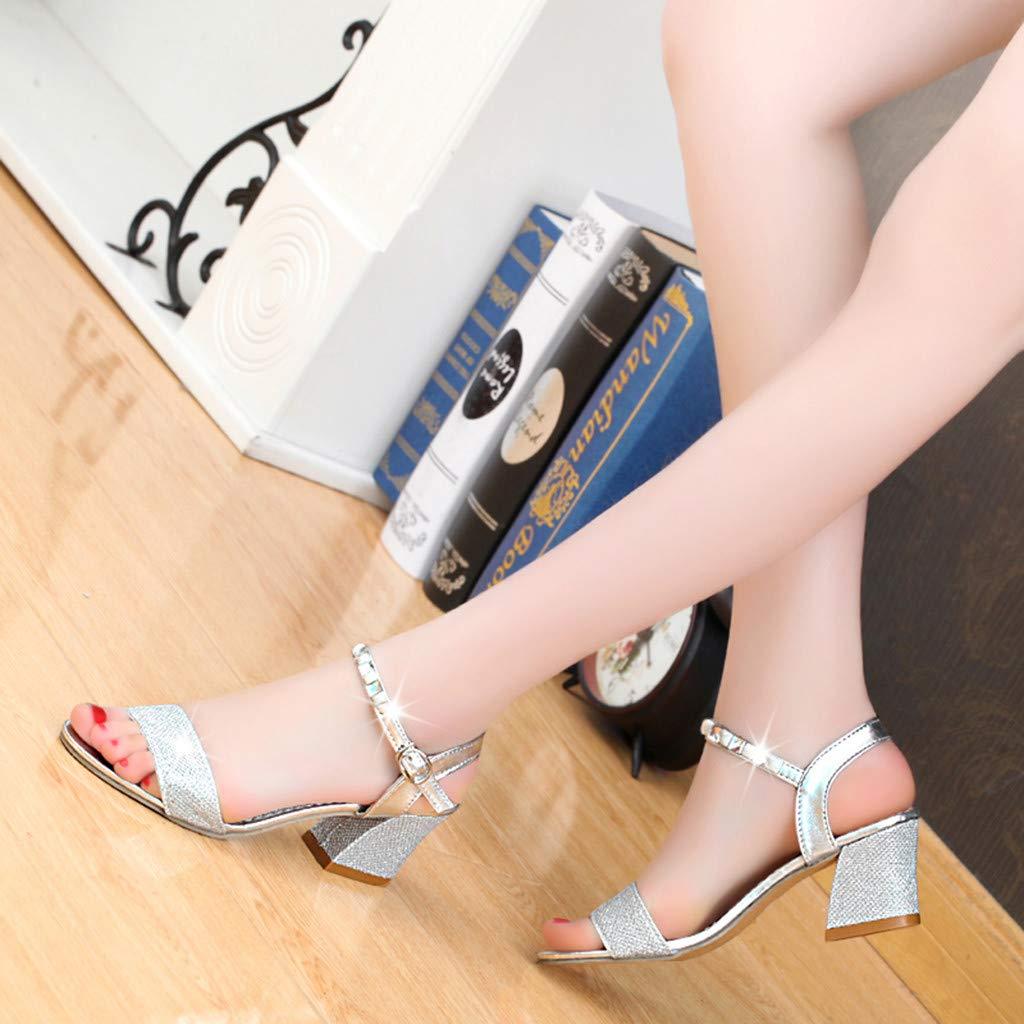 Susen Sandalias De Mujer Tacon Cuadrado Las Se/ñoras Abrocharon Los Zapatos Ocasionales del Diamante Artificial Frescos Zapatos De Mujer De Tacon Plataforma