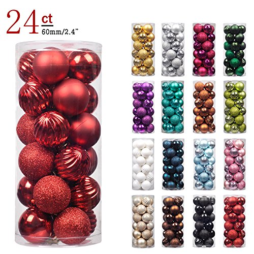 "KI Store 24ct Christmas Ball Ornaments Shatterproof Christmas Decorations Tree Balls for Holiday Wedding Party Decoration, Tree Ornaments Hooks included 2.36"" (60mm Red) (Red Ornaments Matte)"