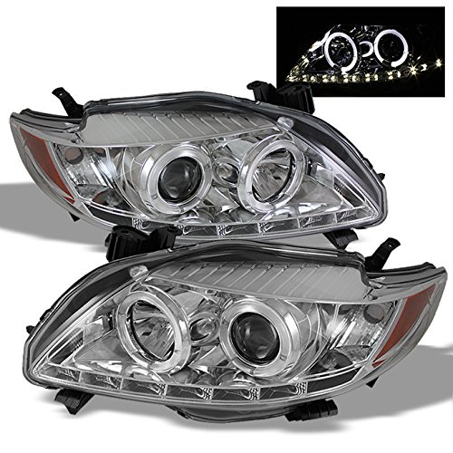 For Toyota Corolla Chrome Clear Dual Halo Ring DRL LED Strip Projector Headlights Front Lamp Replacement (Headlights Toyota Halo Corolla)