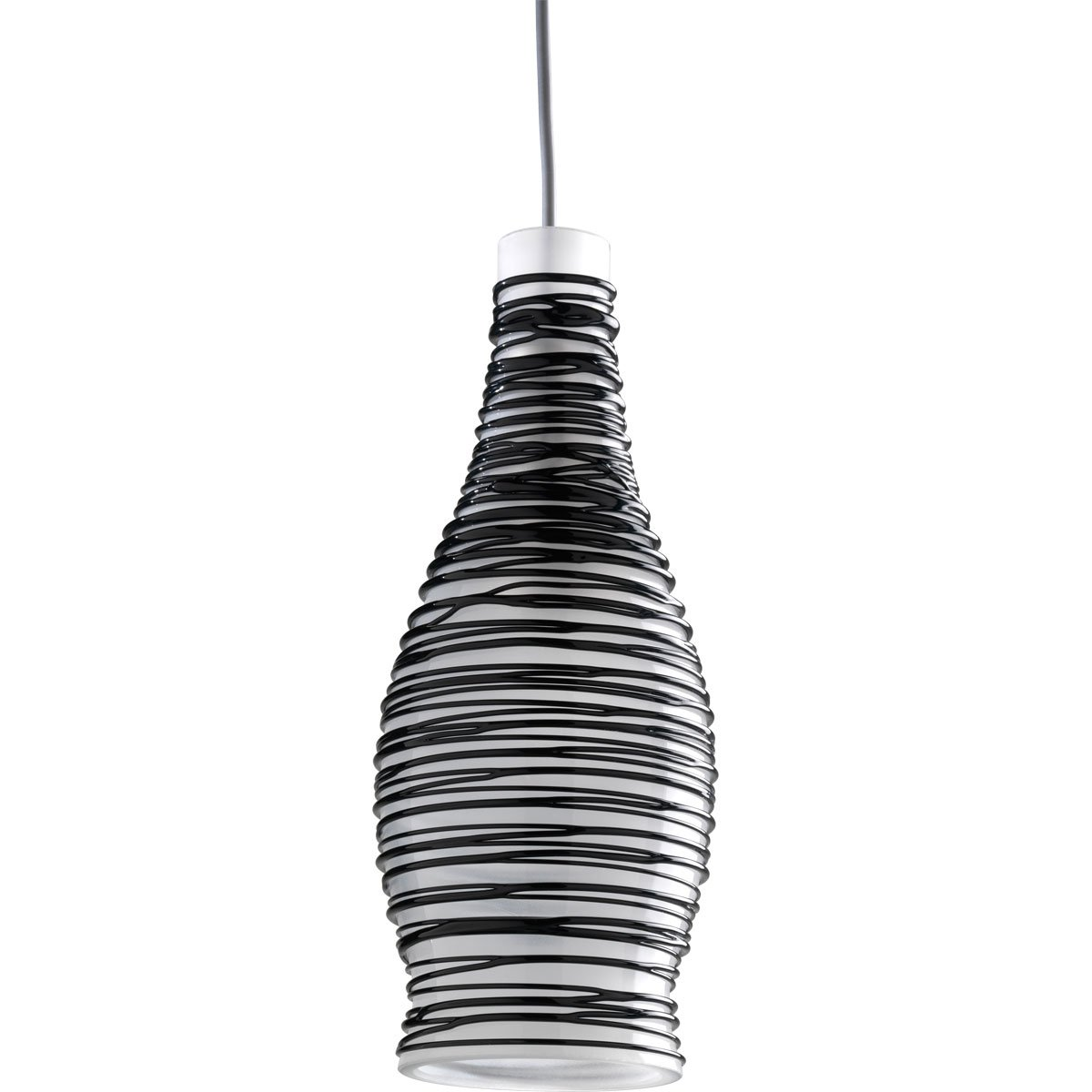 Progress Lighting P6178-09BW 12 Volt Low Voltage Mini-Pendant Wine Bottle with White Glass and Black Pencil Wrap, Brushed Nickel