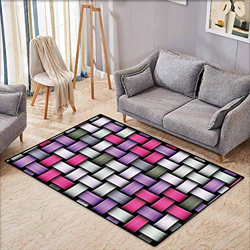 Bathroom Rug Bath Rug Abstract Knot Pattern with Large Fractal Yarns Geometric Linked Bands Graphic Pink Purple Silver Grey Country Home Decor W5'2 - Continuous Knots Band Celtic