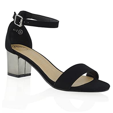 2192d78b817 New Womens Ankle Strap Chrome Low Mid Heel Peep Toe Ladies Strappy .