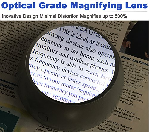 MagniPros 5X Ultra Bright LED Magnifying Glass Dome Magnifier with Cleaning Pouch & 2 Extra Batteries-Large Viewing Area, Ideal for Reading Small Print, Paperweight, Low Vision (Silver)