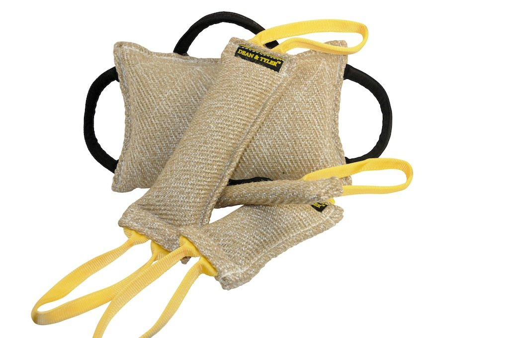 Dean and Tyler Tug Bundle of 1 Bite Pillow + 1 Pocket Tug + 1 Small Tug + 1 Medium Tug, Jute