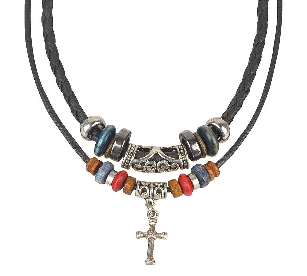 Ancient Tribe Collier ras du cou et pendentif en croix ethnique R/églable en chanvre cuir et perles de bois Noir
