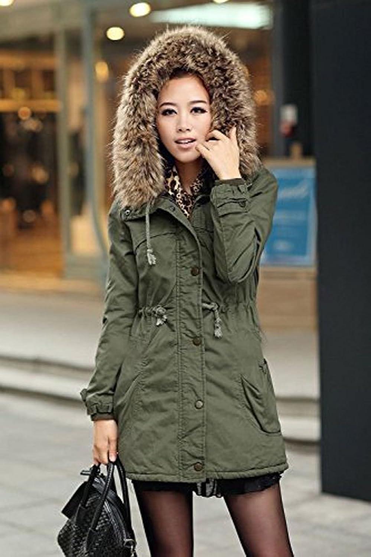 Amazon.com: DEARCASE Women's Hooded Drawstring Military Jacket ...