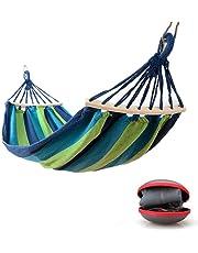 Hamaca Colgante para Jardin Camping | Max 300kg de Capacidad de Carga, (200 x 100 cm) | Hamacas Grande con Barras Extendidas para 1 Persona | Azul