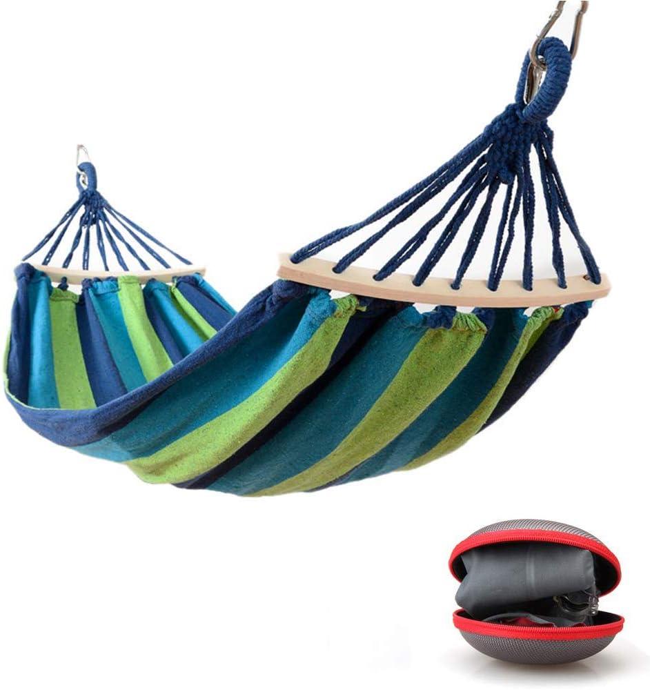 EASY EAGLE Hamaca Colgante para Jardin Camping   MAX 300kg de Capacidad de Carga, (220 x 120 cm)   Hamacas Grande con Barras Extendidas   Rayas Azul-Verdes
