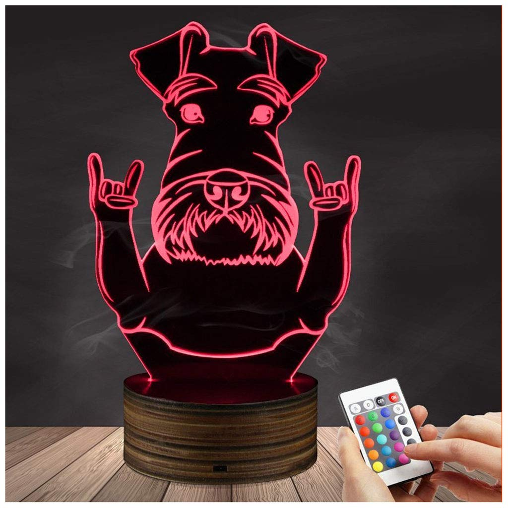 Novelty Lamp, 3D LED Lamp Optical Illusion Schnauzer Night Light, USB Powered Remote Control Changes The Color of The Light, Bedroom for Children's Gifts Home Decoration,Ambient Light