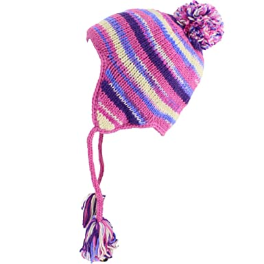 ee5defa3075 Image Unavailable. Image not available for. Colour  Loud Hats Wool Knit  Earflap Bobble HAT Fleece Lined Pink ...
