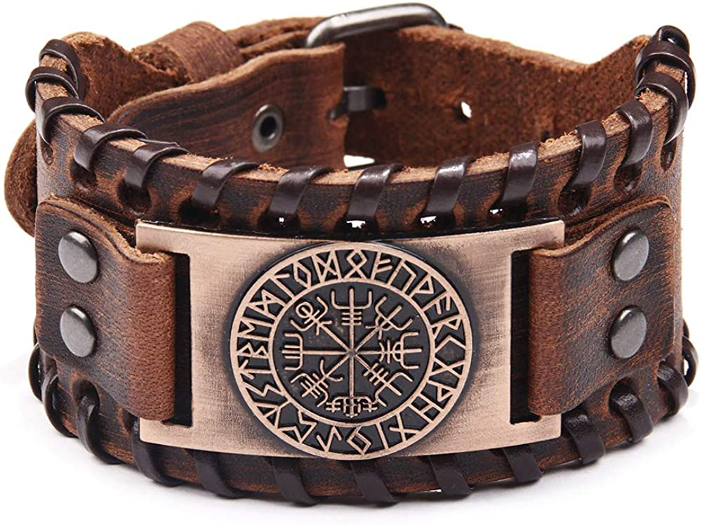 Viking Bracelet Norse Vegvisir - Nordic Bracelet with Runic Compass - Celtic Pagan Jewelry of Talisman (Vegvisir Bronze)