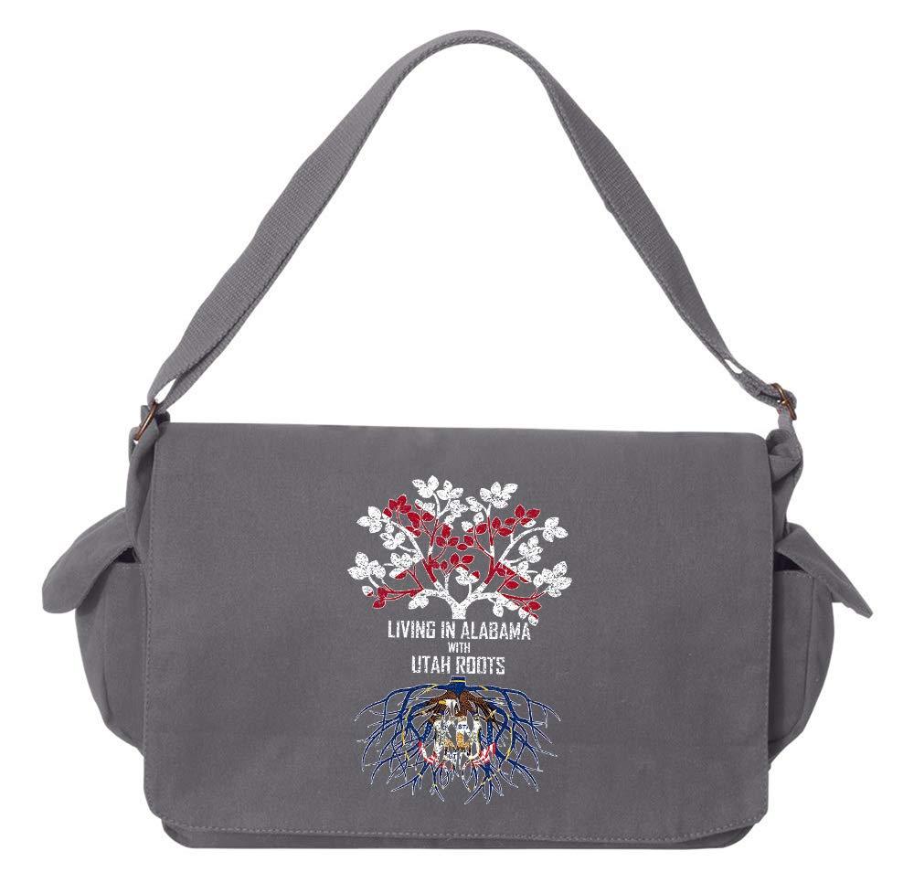 Tenacitee Living In Alabama with Utah Roots Grey Brushed Canvas Messenger Bag