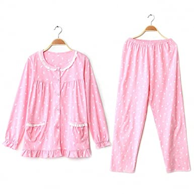 NEW Women Pajamas Sets 100% Cotton Nightwear Winter Long Sleeve Pyjamas O-Neck Sleepwear