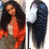 Glueless Lace Front Wigs with Baby Hair 9A Brazilian Deep Wave Lace Front Wigs Human Hair 150% Density Human Hair Wigs Natural Hairline Wigs for Black Women(22'')
